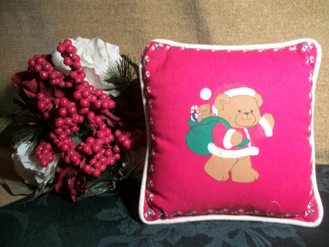 Teddy Bear Dressed as Santa Claus Red and White Christmas Pillow Holiday Home Decoration Vintage 1980's