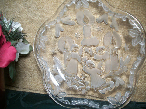 Christmas Serving Dish Angels and Candles Plate Elegant Clear and Frosted Pressed Glass Tray Home Entertaining Holiday Decor