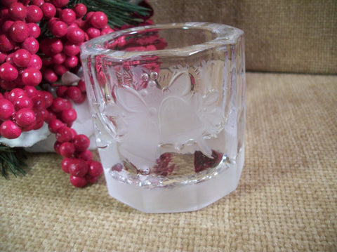 Candle Holder Holiday Bells Clear and Frosted Glass Barrel Sided Votive Jar Vintage Christmas Winter Holiday Home Decor