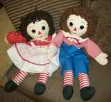 "Raggedy Ann and Andy Dolls Vintage Hand Crafted Soft Sculpture Traditional Boy and Girl 25"" Toys Embroidered Face Yarn Hair Home Decor"