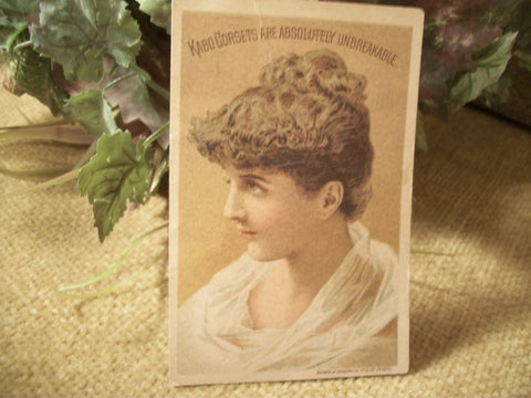 Antique Picture Card 1890's Kabo Corset Advertising  Paper Ephemera Victorian Woman Lithograph Papercrafts Decoupage Supply