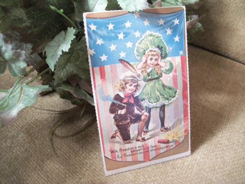 Post Card Vintage 1930's American Flag Fireworks Freedom Victorian Boy Girl Independence Day Picture Papercrafts Decoupage Supply