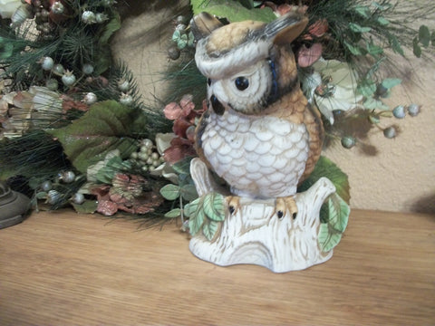 Ceramic Owl Figurine Colorful Hand Painted Bisque Vintage Woodland Bird Mid-Century Art Pottery Home Decor Collectibler Dish Collectible