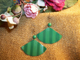 Enamel Earrings Mod Kelly Green Pleated Fan Dangle Earrings 1970's Festive Holiday Christmas Vintage Fashion Jewelry