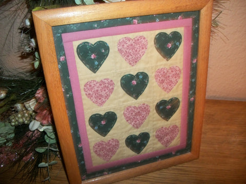 Wall Hanging Vintage Quilt Picture Green Pink Hearts Hand Stitched Country Home Decor Framed Under Glass