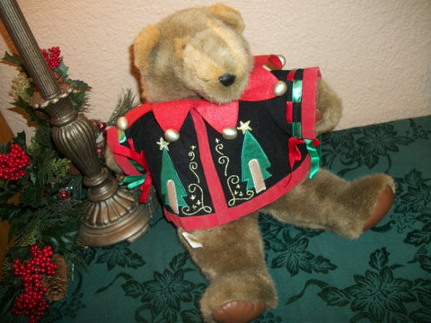 "Teddy Bear Christmas Decoration Vintage 17"" Brown Plush Stuffed Animal Jester Style Winter Holiday Jacket"