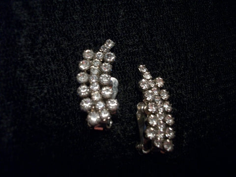 Clip-On  Earrings Rhinestone Formal Evening Bling Vintage Costume Jewelry Fashion Accessory