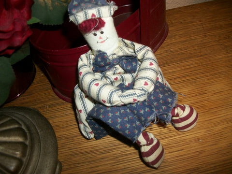 Hand Sewn Navy Man Boy Rag Doll Patriotic Primitive Red White Blue Americana Shelf Sitter Home Decor