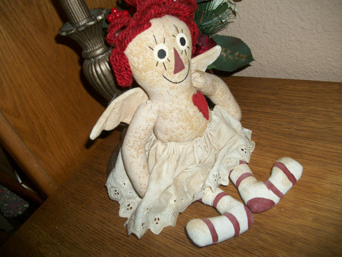 Angel Doll Hand Crafted Raggedy Ann Style Hand Sewn Fiber Filled Cotton Soft Sculpture 14 Inch Folk Art Doll Americana OOAK Home Decor
