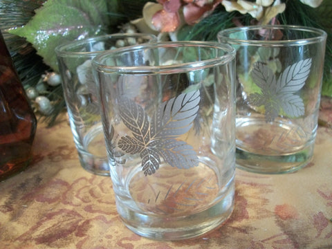 Three Silver Leaf Bar Glasses Vintage 1960's Libbey Barware Hi-Ball Juice Cup Cocktail Glass Beverage Tumbler
