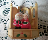 Antique Celluloid Christmas Tree Ornament Santa and Mrs. Claus Figurine Vintage 1940's Collectible
