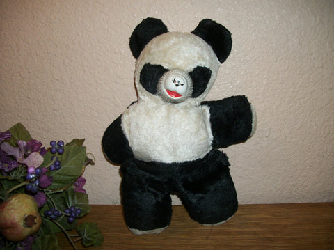 "Panda Stuffed Animal Bear Vintage 1950's Black and White Plush 11"" Toy Baby Boomer Collectible Home Decor"