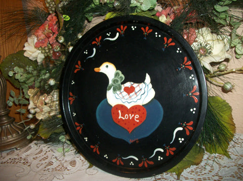 Black Metal Tray Vintage Hand Painted Hearts Flowers Duck Country Farmhouse Folk Art Wall Hanging Serving Platter Kitchen Decor