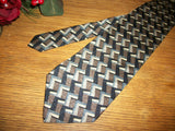 Milano Uomo Silk Tie Black Silver Beige Geometric Vintage Necktie Made in the USA Mens Business Suit Formal Accessory Neckwear