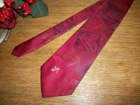Donloper Beverly Hills Polyester Silk Blend Tie Deep Red Geometric Print Vintage Necktie Made in the USA Mens Business Suit Formal Accessory