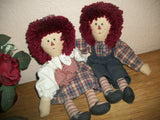 Raggedy Ann and Andy Style Rag Dolls Vintage He She Boy  Girl Soft Sculpture 14 Inch Folk Art Dolls Primitive Americana Home Decor