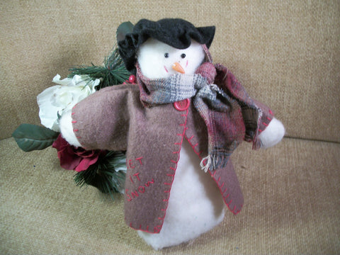Handcrafted Snowman Soft Sculpture Fleece Rustic Folk Art Christmas Winter Holiday Decoration