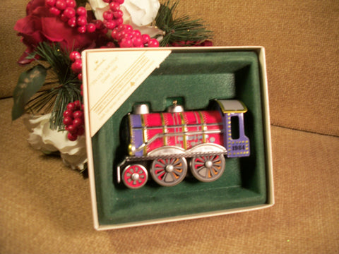 Hallmark Tin Locomotive Christmas Tree Ornament Red Railroad Train Vintage 1984 Collectible Keepsake Train Collector Holiday Decor