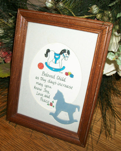 Children's Room Wall Hanging Blessing Picture Framed Art Print Rocking Horse Blue Home Decor