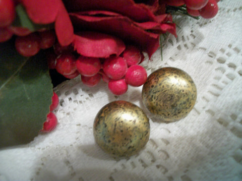 "Clip On Earrings Blackened Gold Metal Round Dome 1"" Button Dot Antique Style Vintage Fashion Jewelry"