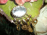 Vintage Brooch Hearts and Flowers Beaded Dangle Charm 1980's Fashion Jewelry Collar Pin