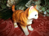 Cat Figurine Vintage Napcoware Porcelain Hand Painted Orange Striped Tiger Kitten Home Decor Collectible