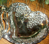 Godinger Silver Art Double Heart Dish Grape Design Silver Plated Serving Tray Elegant Home Decor  Candy Nut Trinket Dish