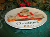 Christmas Plate Norman Rockwell Santa Claus Checking His List Vintage 1980 Collectible Limited Edition Wall Hanging Holiday Home Decor