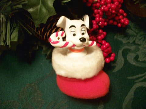 Dog Christmas Tree Ornament Vintage Walt Disney 101 Dalmatians McDonalds Happy Meal Toy Black White Two-Tone Puppy in Red Stocking