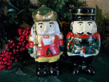 Nutcracker Soldier Ceramic Figurines Two Hand Painted  Vintage Christmas Decorations