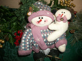 Snowman and Baby Ice Skating Vintage Fleece Doll Pink and Blue Christmas and Winter Decoration