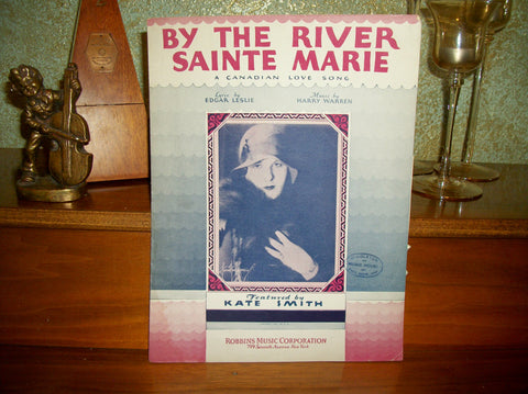 By the River Sainte Marie Antique Sheet Music English French Lyrics Vocal Piano Ukulele Kate Smith Love Song Vintage 1931 MGM Robbins Music