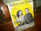 Buttons and Bows Antique Vocal Piano Sheet Music Score from The Paleface Movie Bob Hope Jane Russell Vintage 1948 Famous Music Corp.