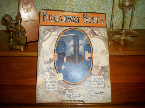 Broadway Blues Antique Sheet Music Vocal Piano Operatic Edition Song Vintage 1920 Irving Berlin Music Publishers