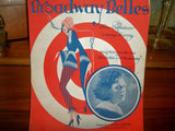 Broadway Belles Antique Sheet Music Vocal Piano Cora Davis Stage Song Vintage 1923 Ansonia Music Company