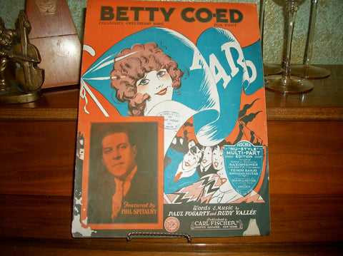 Antique Sheet Music Betty Co-ed Fox Trot Vocal Piano Guitar Ukulele Banjo Saxophone Collegiate Sweetheart Song Vintage 1923