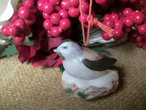 Nesting Bird Christmas Tree Ornament Vintage Homco Hand Painted Porcelain Figurine