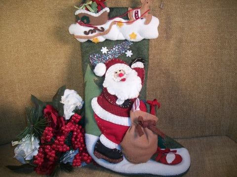 Christmas Stocking Santa with Toy Sack Red White Green Polyester Vintage Keepsake Hanging Decor by Delton