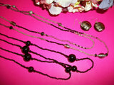 Beaded Earrings and Necklace Set Black Silver Metallic Glass Handcrafted Jewelry