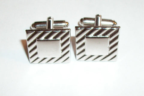Cuff Links Men's Jewelry Geometric Silver Metal Vintage Formal Wedding Groom Father of the Bride Best Man Attire