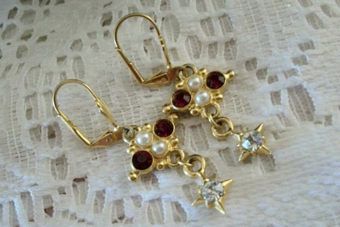 Cross Earrings Red Rhinestones White Beads Gold Metal French Wires Baroque Christian Vintage Costume July Birthstone Jewelry