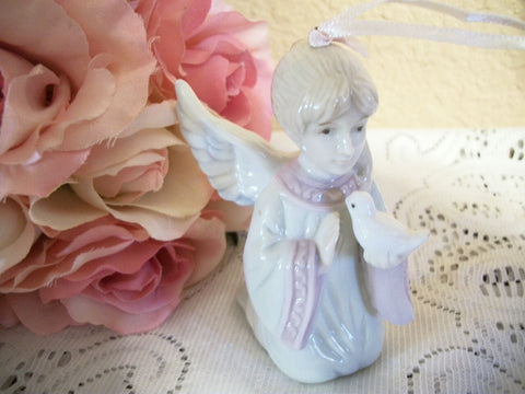 Angel Figurine Porcelain Ornament Kneeling Praying First Communion Girl with White Dove Vintage Home Decor Keepsake Gift