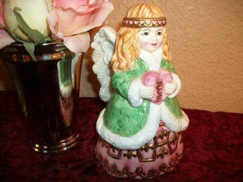 Angel Bell Love Heart Handpainted Vintage Ceramic Girl Figurine Valentine's Day Gift  Home Decor Collectible