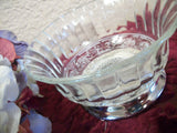 Glass Serving Dish Silver Plated Pedestal Berry Bowl Hollywood Recency Home Decor Ornate Vintage Trinket Dish