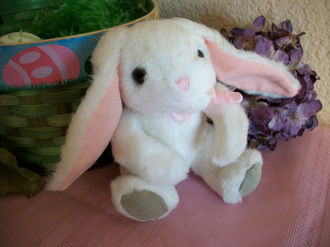 Bunny Rabbit Stuffed Animal Vintage Russ Berrie White and Pink Plush Toy Easter Decoration Basket Stuffer
