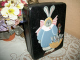 Metal Box Storage Tin  Hand Painted Grey Rabbit Mother Bunny and Baby Bunnies Vintage Covered Box Spring Easter Home Decor