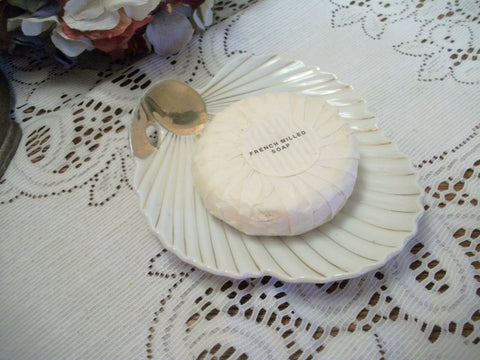 Porcelain Soap Dish Scalloped Edge White Sea Shell Tray Hand Painted Gold Gilt Plate Vintage Art Deco Home Decor Made in Japan