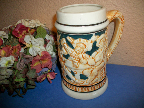 Beer Stein German Style Ceramic Beverage Mug Made in Occupied Japan Rare Vintage Collectible Home Bar Decor Breweriana