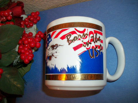 Coffee Tea Mug US Marine Corps Born in the USA American Eagle Red White Blue Flag 22K Gold Kapan Kent Semper Fi Vintage Serving Tableware