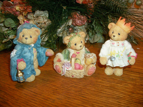 Cherished Teddies Christmas Bear Figurines Priscilla Hillman Enesco Collectible Resin Vintage Holiday Home Decor